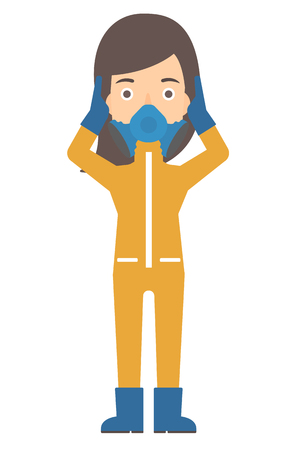 chemical hazard: A woman in protective chemical suit clutching his head vector flat design illustration isolated on white background. Vertical layout.