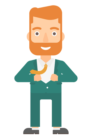A hipster businessman with the beard taking off his jacket vector flat design illustration isolated on white background. Vertical layout.