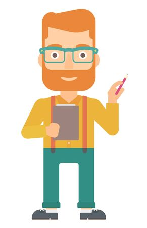 documentation: A man standing with a pen and a file in hands vector flat design illustration isolated on white background. Vertical layout. Illustration