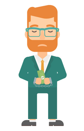 A businessman in handcuffs with money in hands vector flat design illustration isolated on white background. Vertical layout.