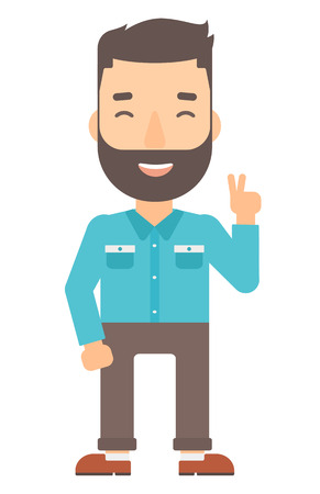 cartoon adult: A hipster man with the beard showing a sign of peace vector flat design illustration isolated on white background. Vertical layout.