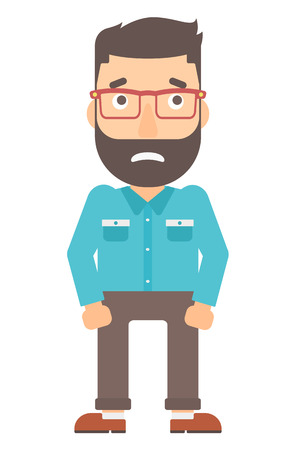 worried: Embarrassed hipster man with the beard vector flat design illustration isolated on white background. Vertical layout.