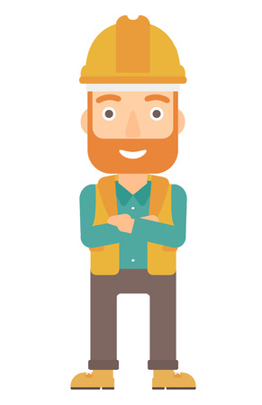 Confident hipster constructor standing with arms crossed vector flat design illustration isolated on white background. Vertical layout.