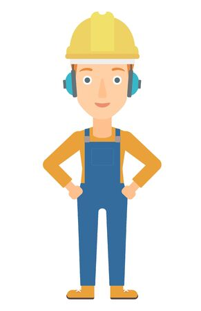 yellow hard hat: A woman wearing a yellow hard hat and headphones vector flat design illustration isolated on white background. Vertical layout.
