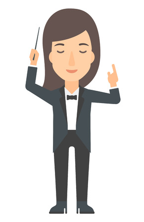 An orchestra conductor directing with her baton vector flat design illustration isolated on white background. Vertical layout. Illustration