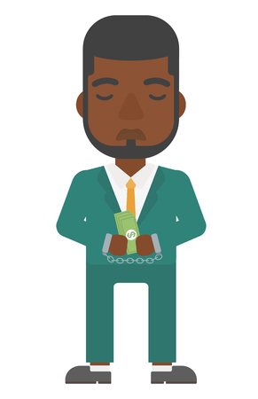 An african-american businessman in handcuffs with money in hands vector flat design illustration isolated on white background. Vertical layout.