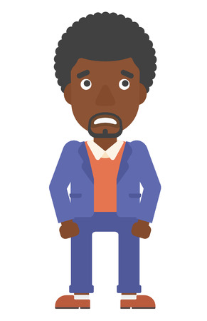 An african-american man embarrassed man vector flat design illustration isolated on white background. Vertical layout.