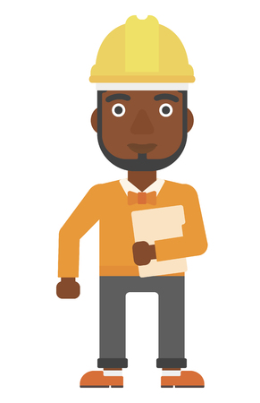 e book device: An african-american man in hardhat standing with a laptop in hand vector flat design illustration isolated on white background. Vertical layout. Illustration