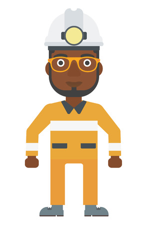 industrial safety: An african-american miner in hardhat with torch vector flat design illustration isolated on white background. Vertical layout.