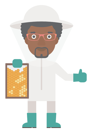 An african-american beekeeper in protective suit holding a framework in hand and showing thumb up vector flat design illustration isolated on white background. Vertical layout.