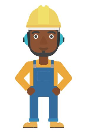 yellow hard hat: An african-american man wearing a yellow hard hat and headphones vector flat design illustration isolated on white background. Vertical layout. Illustration