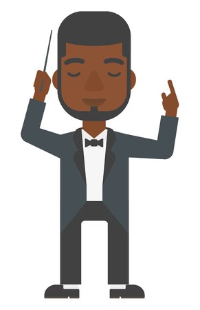 conducting: An african-american orchestra conductor directing with his baton vector flat design illustration isolated on white background. Vertical layout.