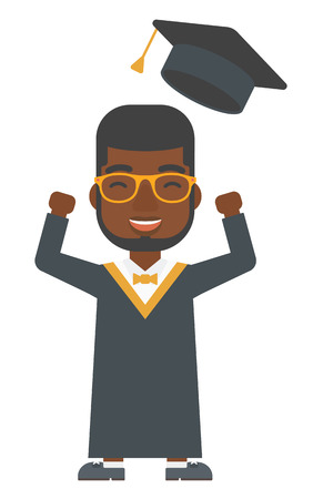 An african-american graduate throwing up his hat vector flat design illustration isolated on white background. Vertical layout.