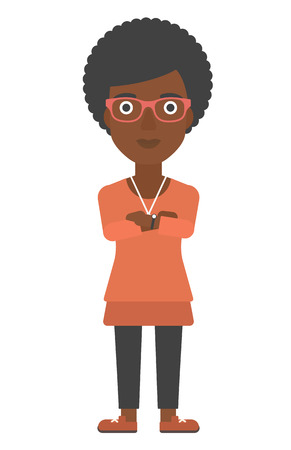crossed arms: An african-american woman standing with crossed arms vector flat design illustration isolated on white background. Vertical layout. Illustration
