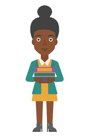 An african-american woman standing with pile of folders vector flat design illustration isolated on white background. Vertical layout.