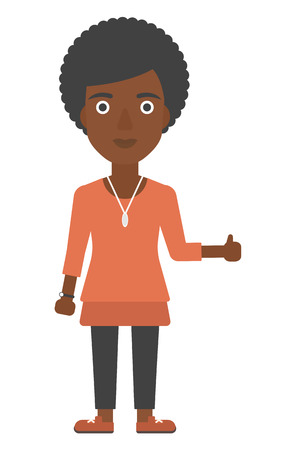 ecstatic: An african-american woman showing thumbs up sign vector flat design illustration isolated on white background. Vertical layout.