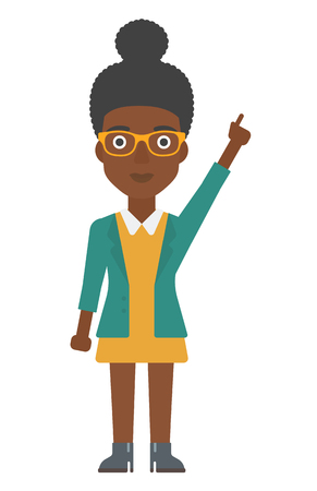 woman pointing up: An african-american woman pointing up with her forefinger vector flat design illustration isolated on white background. Vertical layout.
