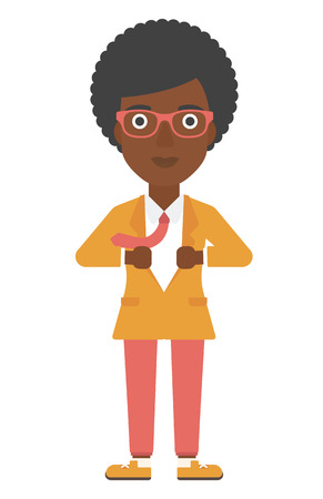 undress: An african-american business woman taking off her jacket vector flat design illustration isolated on white background. Vertical layout.