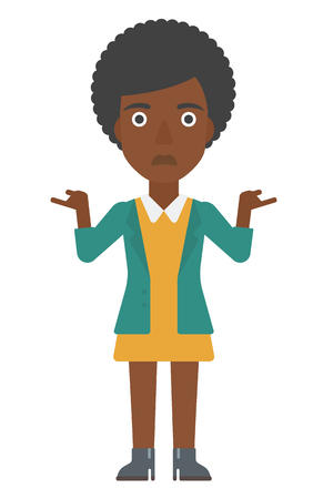 An african-american worried woman with spread hands vector flat design illustration isolated on white background. Vertical layout.