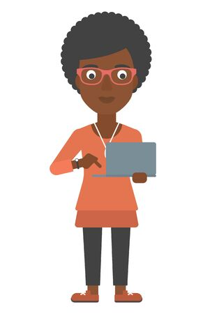 woman laptop: An african-american woman standing with laptop in hands vector flat design illustration isolated on white background. Vertical layout. Illustration