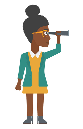 An african-american woman looking through spyglass vector flat design illustration isolated on white background. Vertical layout.
