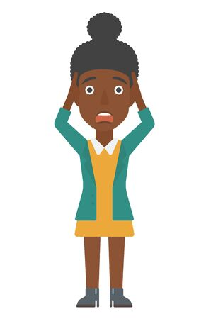 clutching: An african-american disappointed young woman clutching her head vector flat design illustration isolated on white background. Vertical layout. Illustration