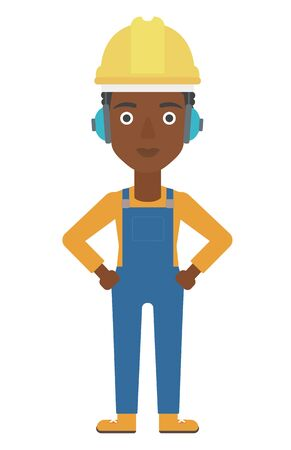 hard hat: An african-american woman wearing a yellow hard hat and headphones vector flat design illustration isolated on white background. Vertical layout.