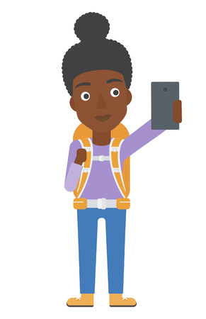 smart girl: An african-american woman making selfie vector flat design illustration isolated on white background. Vertical layout. Illustration