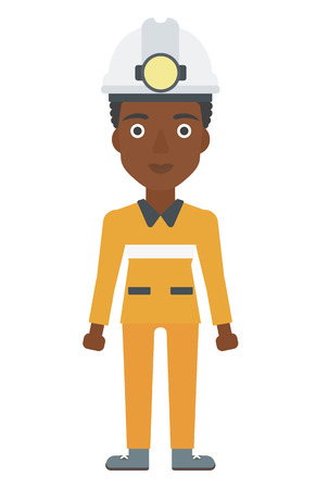 workwoman: An african-american miner in hardhat with torch vector flat design illustration isolated on white background. Vertical layout.