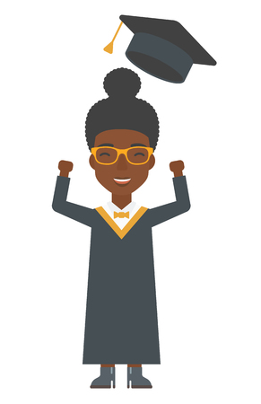 the alumnus: An african-american graduate throwing up her hat vector flat design illustration isolated on white background. Vertical layout.