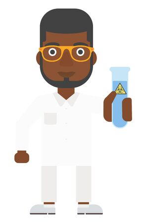 An african-american laboratory assistant holding a test tube with biohazard sign on it vector flat design illustration isolated on white background. Vertical layout. Illustration