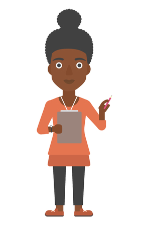 An african-american woman standing with a pen and a file in hands vector flat design illustration isolated on white background. Vertical layout.