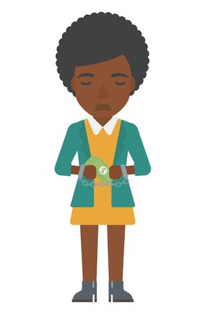 Ein African-American Business Frau in Handschellen mit Geld in den Händen Vektor flache Design-Darstellung auf weißem Hintergrund. Vertikal-Layout. Standard-Bild - 54138159