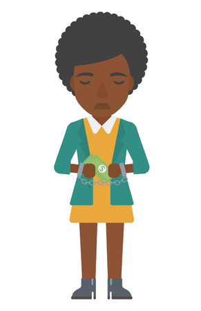 An african-american business woman in handcuffs with money in hands vector flat design illustration isolated on white background. Vertical layout.