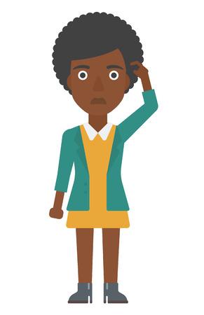 Una mujer afroamericana rascándose la sien con el dedo ilustración vectorial diseño plano aislado en el fondo blanco. disposición vertical.