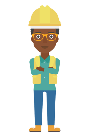An african-american constructor standing with arms crossed vector flat design illustration isolated on white background. Vertical layout.
