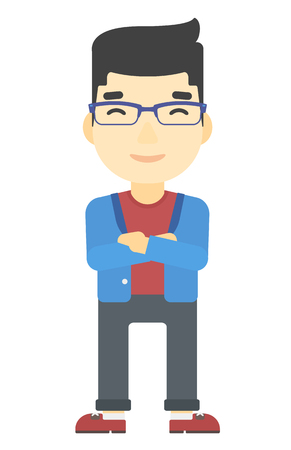 fullbody: An asian man standing  with crossed arms vector flat design illustration isolated on white background. Vertical layout. Illustration