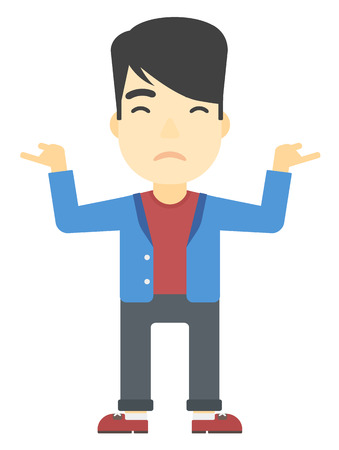 questionable: An asian man gesturing with open arms vector flat design illustration isolated on white background. Vertical layout.