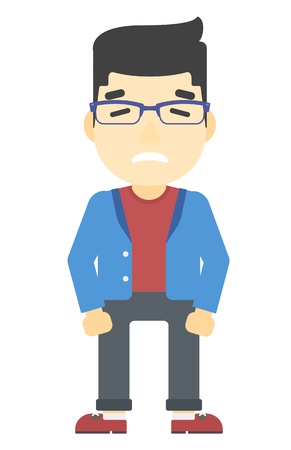 ashamed: Embarrassed asian man with the beard vector flat design illustration isolated on white background. Vertical layout. Illustration