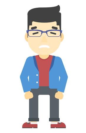 Peinlich asiatischen Mann mit dem Bart Vektor flache Design-Illustration isoliert auf weißem Hintergrund. Vertikal-Layout. Vektorgrafik