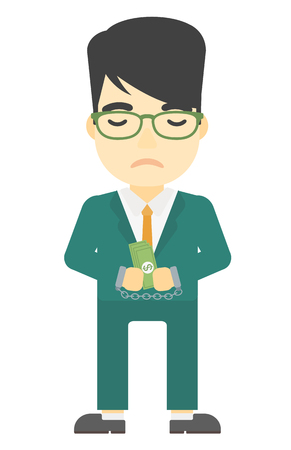An asian businessman in handcuffs with money in hands vector flat design illustration isolated on white background. Vertical layout.