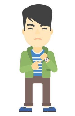 dissatisfied: An asian man angry boss pointing at wrist watch vector flat design illustration isolated on white background. Vertical layout.
