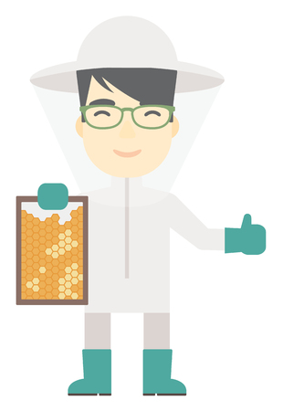An asian beekeeper in protective suit holding a framework in hand and showing thumb up vector flat design illustration isolated on white background. Vertical layout.