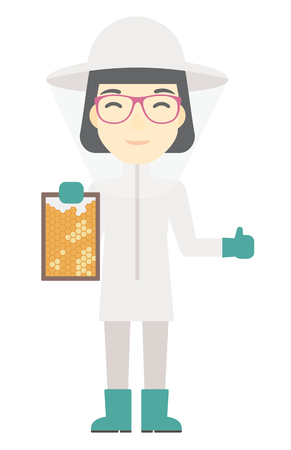 apiculture: An asian beekeeper in protective suit holding a framework in hand and showing thumb up vector flat design illustration isolated on white background. Vertical layout.