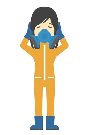 protective suit: An asian woman in protective chemical suit clutching his head vector flat design illustration isolated on white background. Vertical layout.