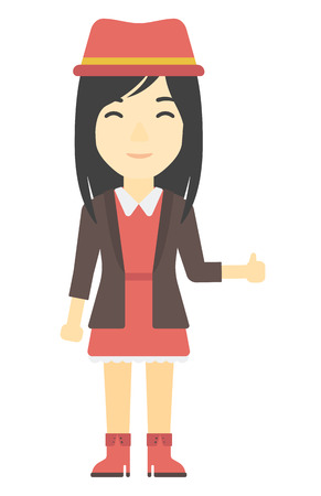 sign up: An asian woman showing thumbs up sign vector flat design illustration isolated on white background. Vertical layout.