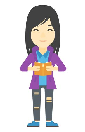 An asian woman reading a book vector flat design illustration isolated on white background. Vertical layout. 일러스트