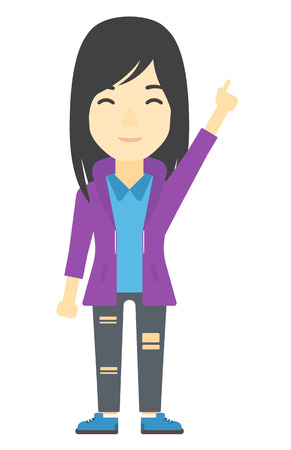 forefinger: An asian woman pointing up with her forefinger vector flat design illustration isolated on white background. Vertical layout.