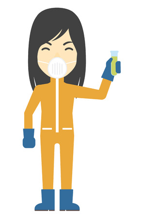 toxins: An asian laboratory assistant in protective chemical suit holding a test-tube in hand vector flat design illustration isolated on white background. Vertical layout. Illustration