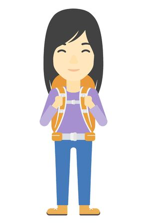 hiking: An asian woman with backpack hiking vector flat design illustration isolated on white background. Vertical layout. Illustration